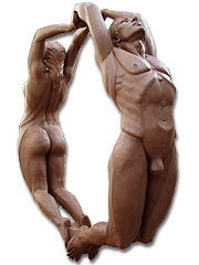 Encircled couple, Sculpture in Barcelona